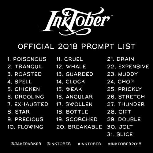 Inktober 2018 Prompt List