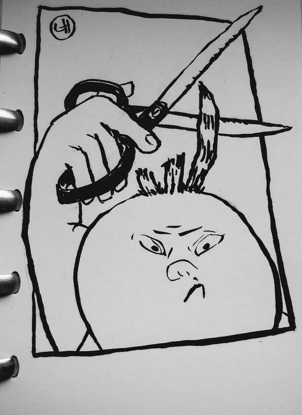 cartoon of child cutting hair