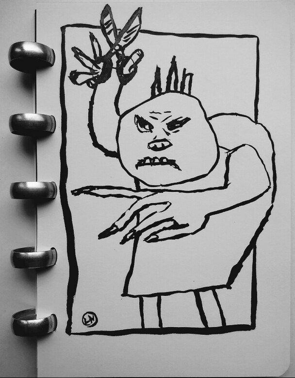 ink drawing of figure with scissors