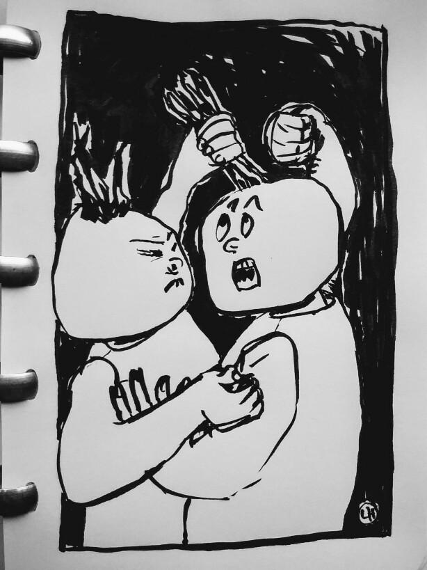 cartoon of twin figures fighting