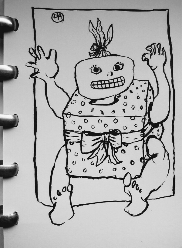cartoon of child wrapped as gift