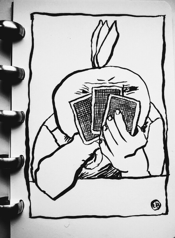 drawing of figure holding playing cards