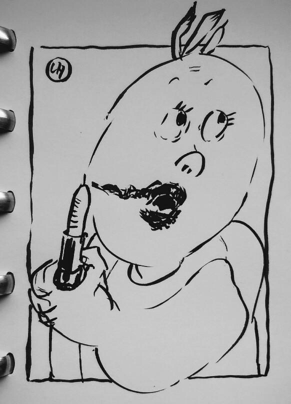 cartoon of smearing lipstick