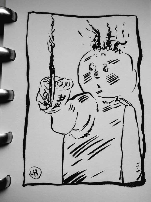 cartoon of child with burnt match