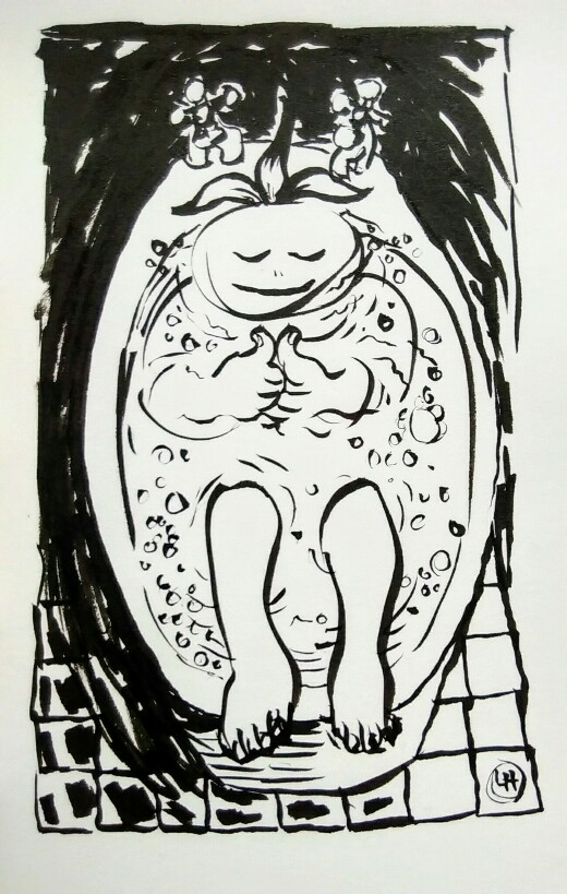 Drawing of tranquil child in bath
