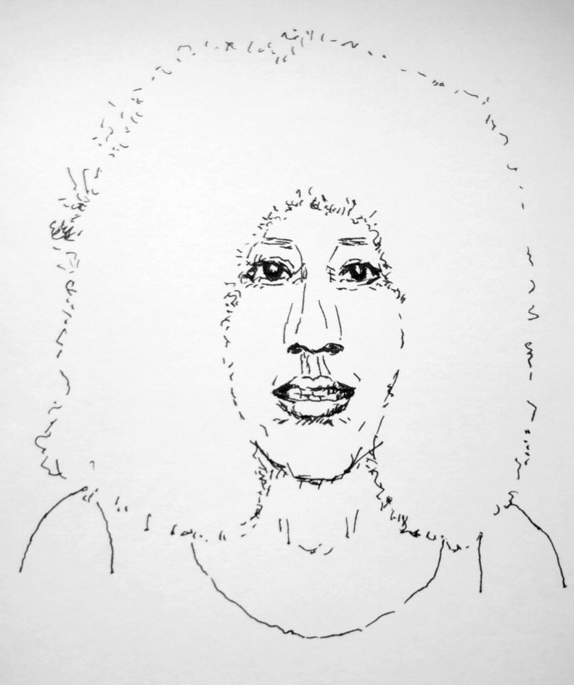 pen and ink drawing of 1970s woman