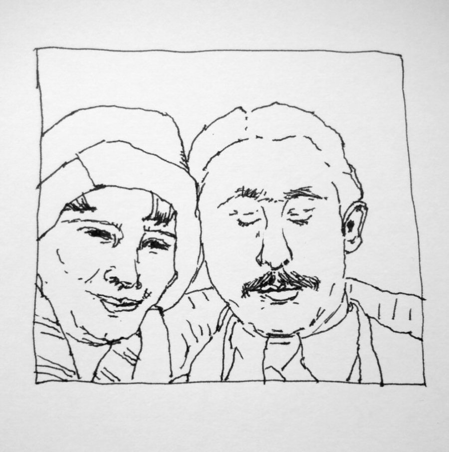 line drawing of 1920s photo booth shot of couple