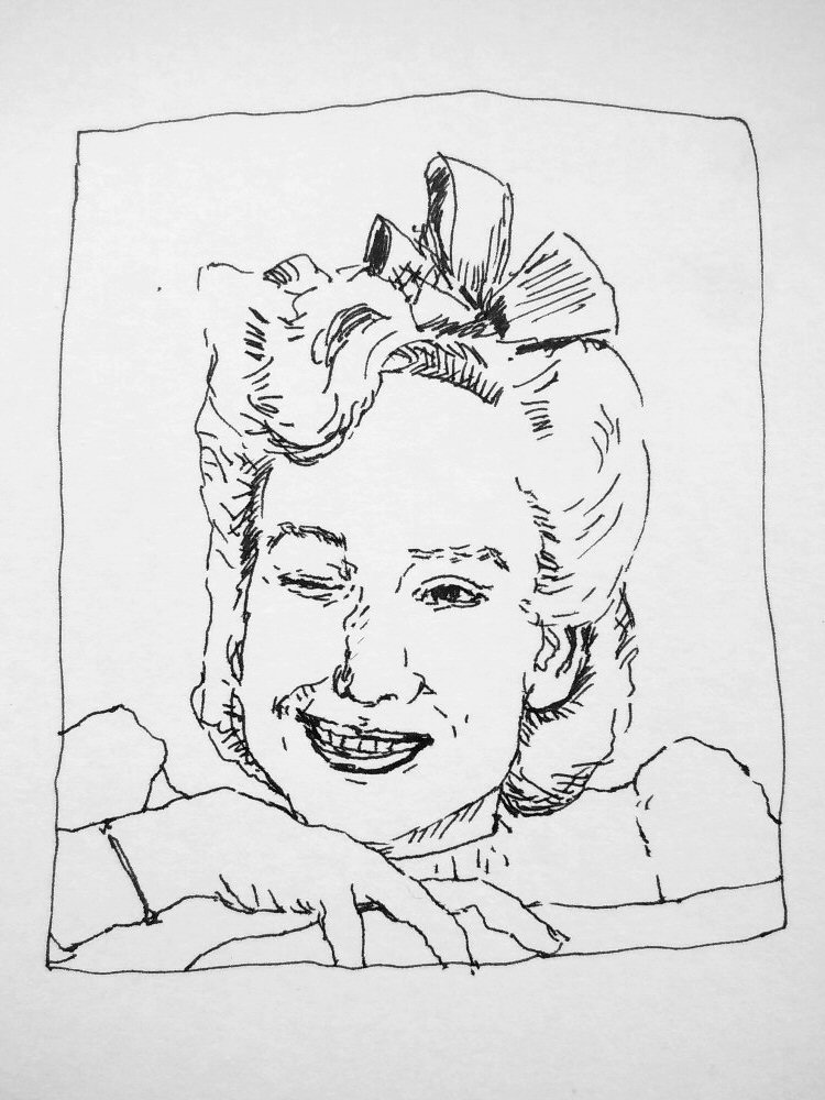ink portrait of 1940s woman winking