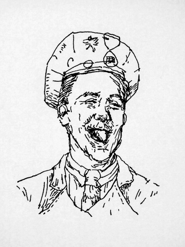 ink drawing of American airman with his tongue out