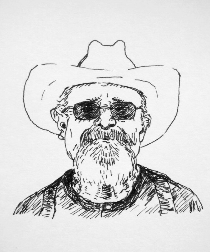 ink drawing of man with beard and hat
