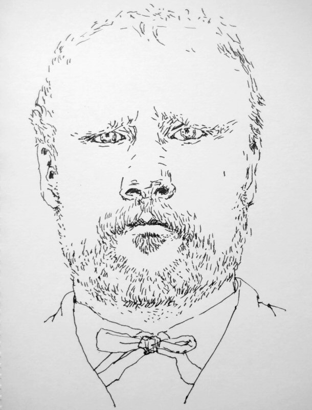 ink drawing of bearded man frowning