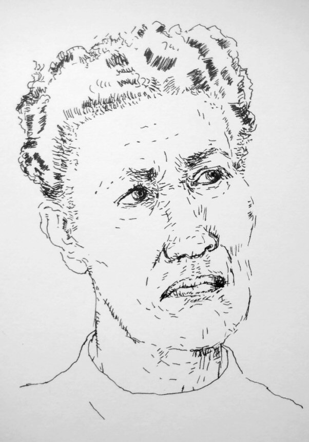 ink drawing of woman frowning