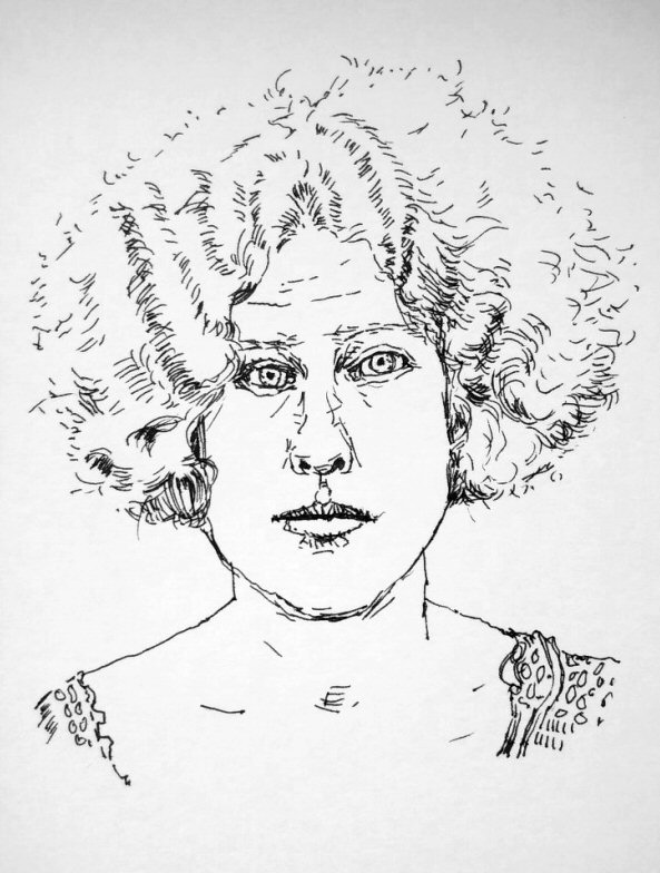 ink drawing of woman with curly hair