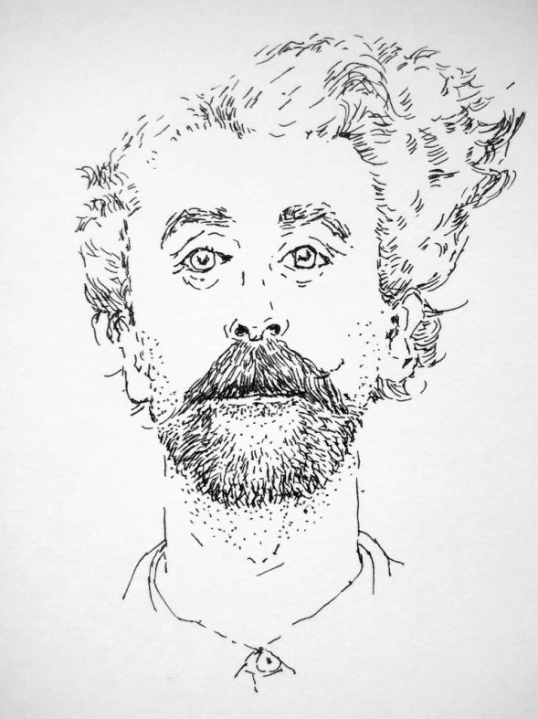 ink drawing of man with curly hair, beard and moustache
