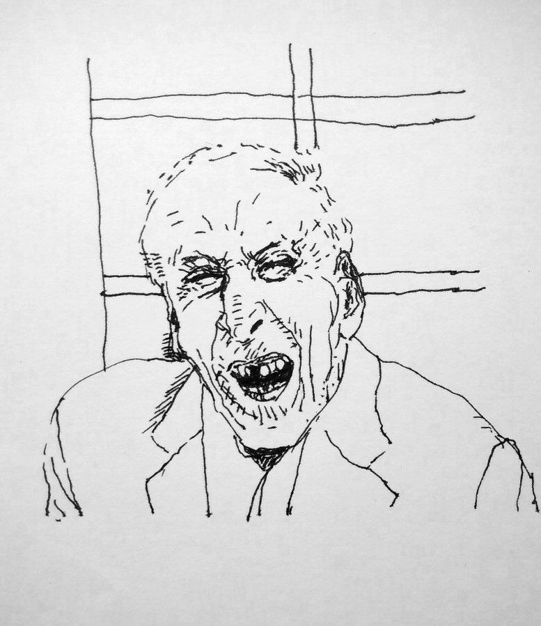 ink drawing of old man laughing