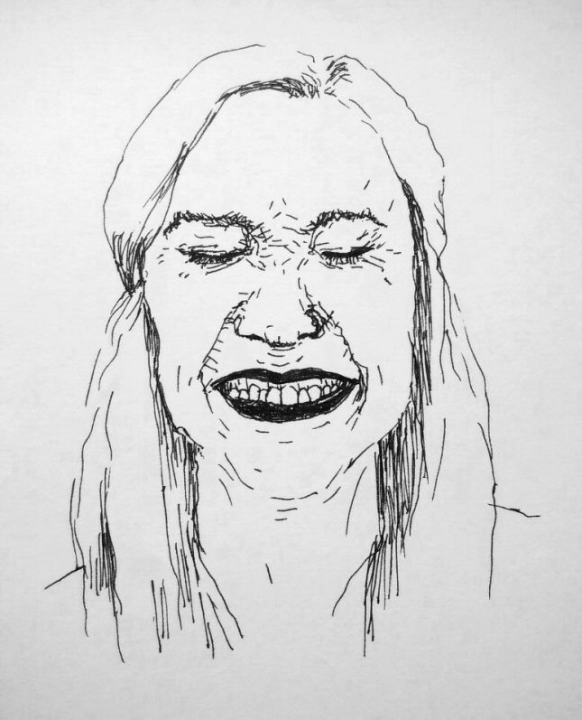 ink drawing of woman laughing