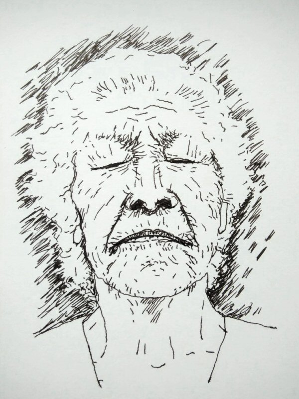 ink drawing of elderly woman with eyes closed