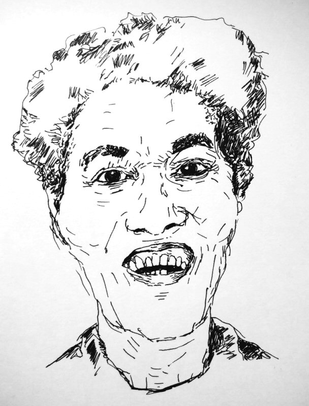 ink drawing of a woman smiling