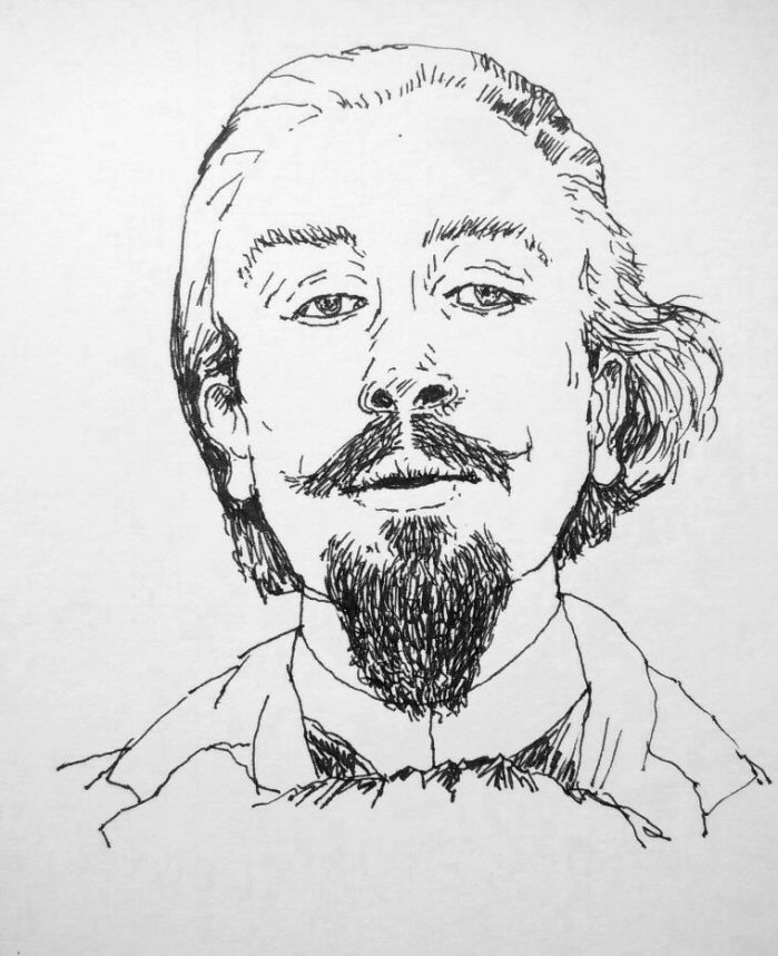 ink drawing of a bearded anarchist