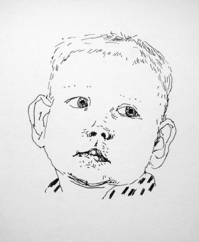 ink drawing of a toddler's face