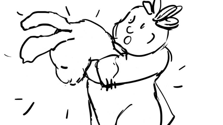 drawing of child holding giant rabbit