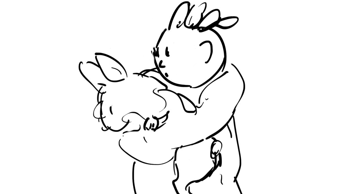 drawing of child holding a rabbit