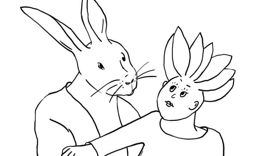 drawing of rabbit & young woman as couple
