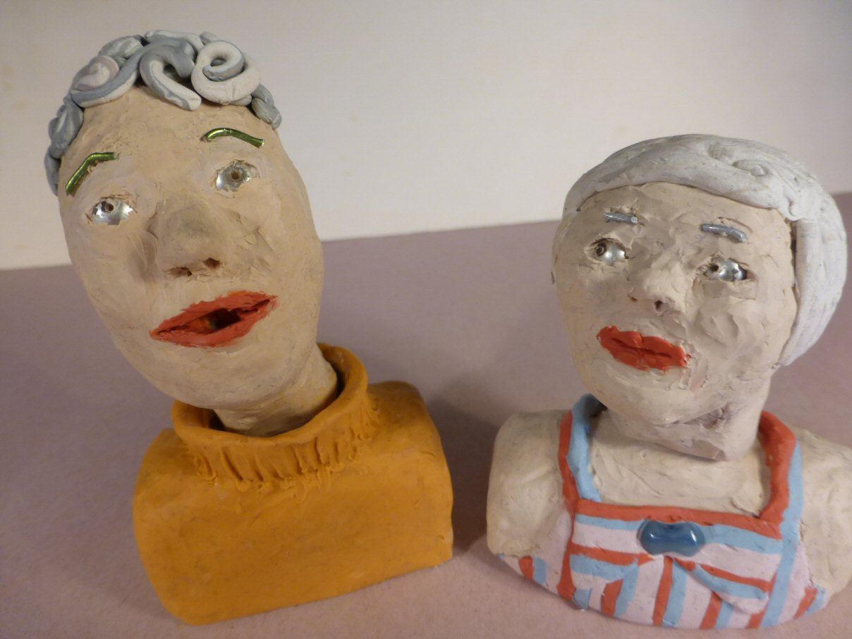 plasticine head talking and another listens