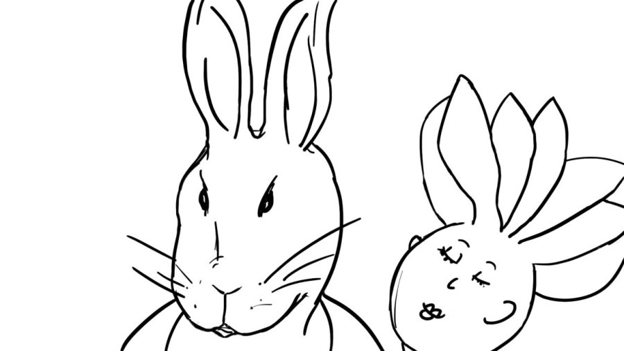 head and shoulders drawing of rabbit and woman couple