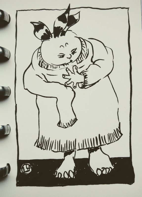 drawing of figure in oversized jumper