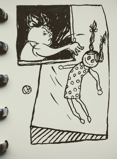 drawing of figure throwing doll out of window