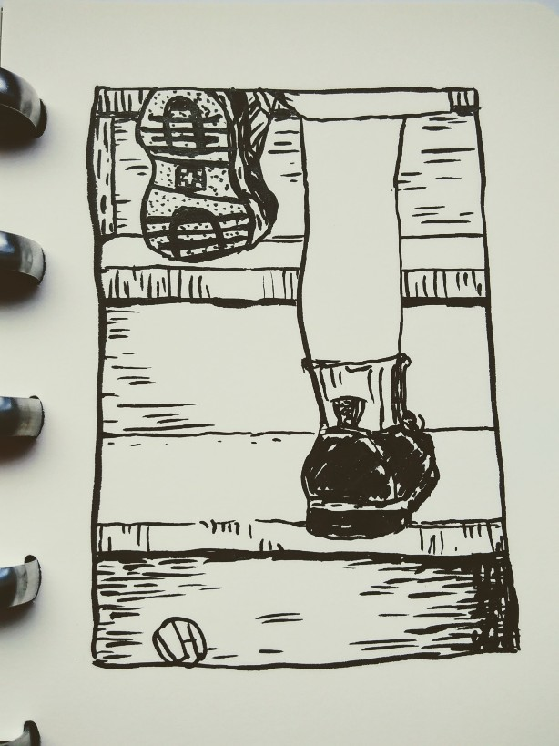 drawing of feet climbing stairs