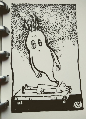 ink drawing of ghost rising from body