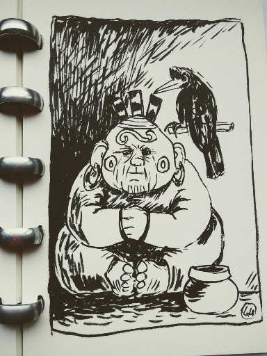 drawing of shaman type figure with rook