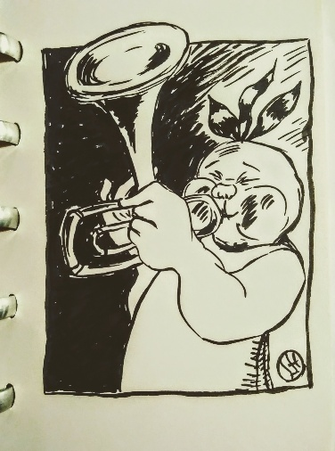 drawing of figure playing the trumpet