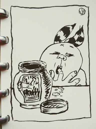 drawing of figure tasting something from jar