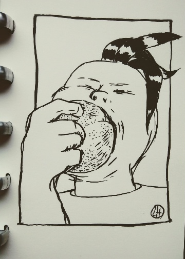 ink portrait of Queenie biting into fruit