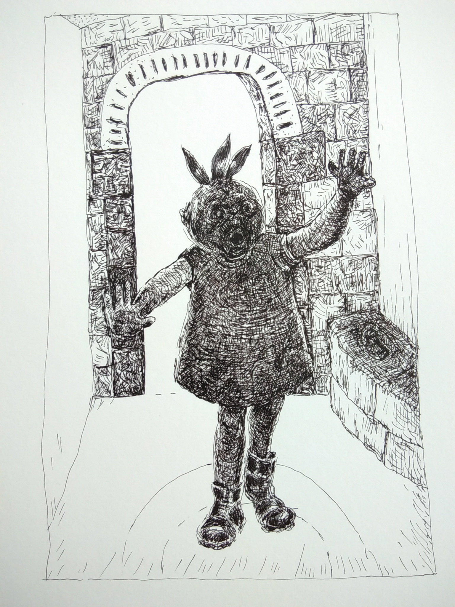 pen drawing of child in the dark