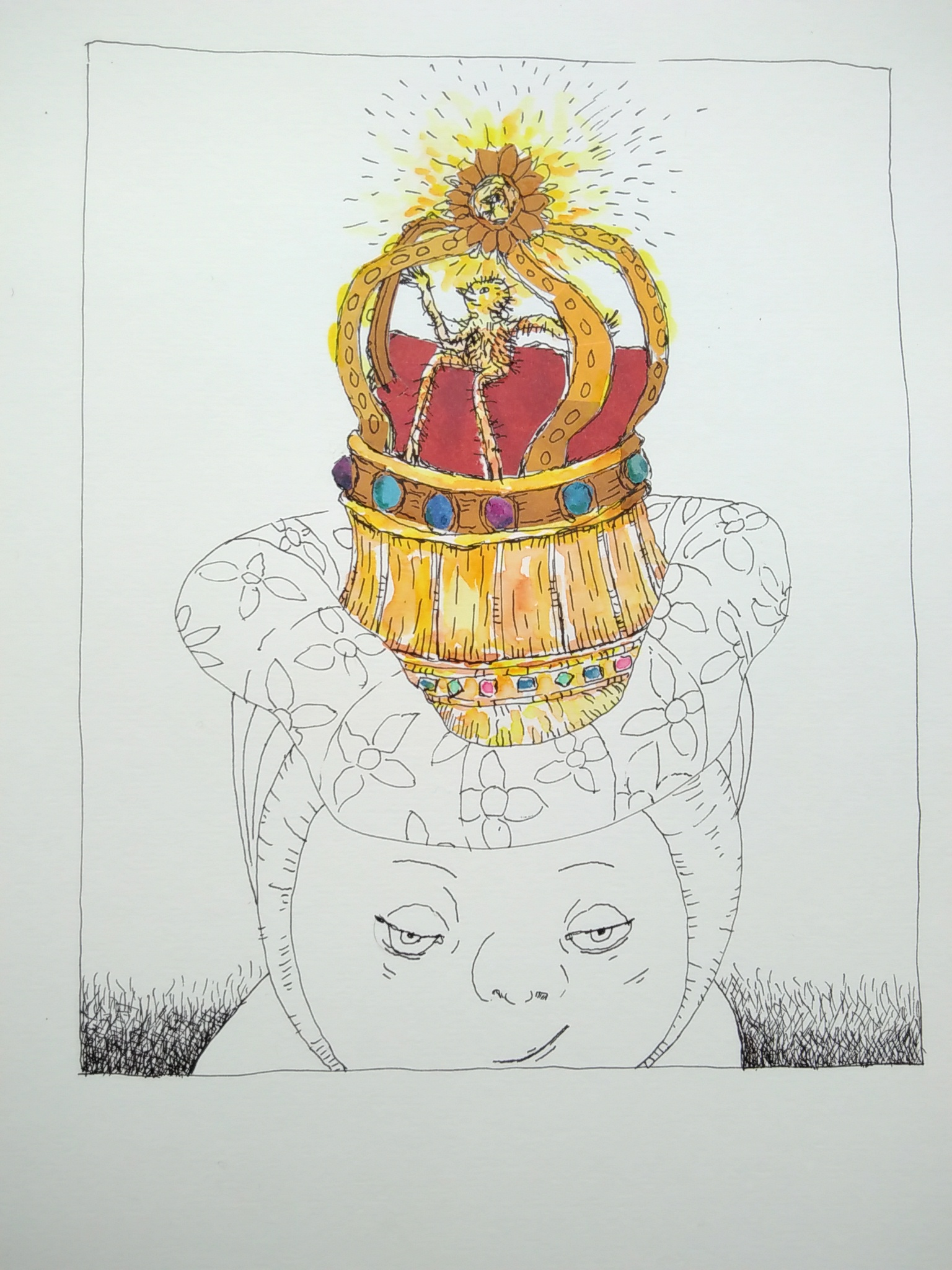 technical pen and colour drawing of head wearing crown