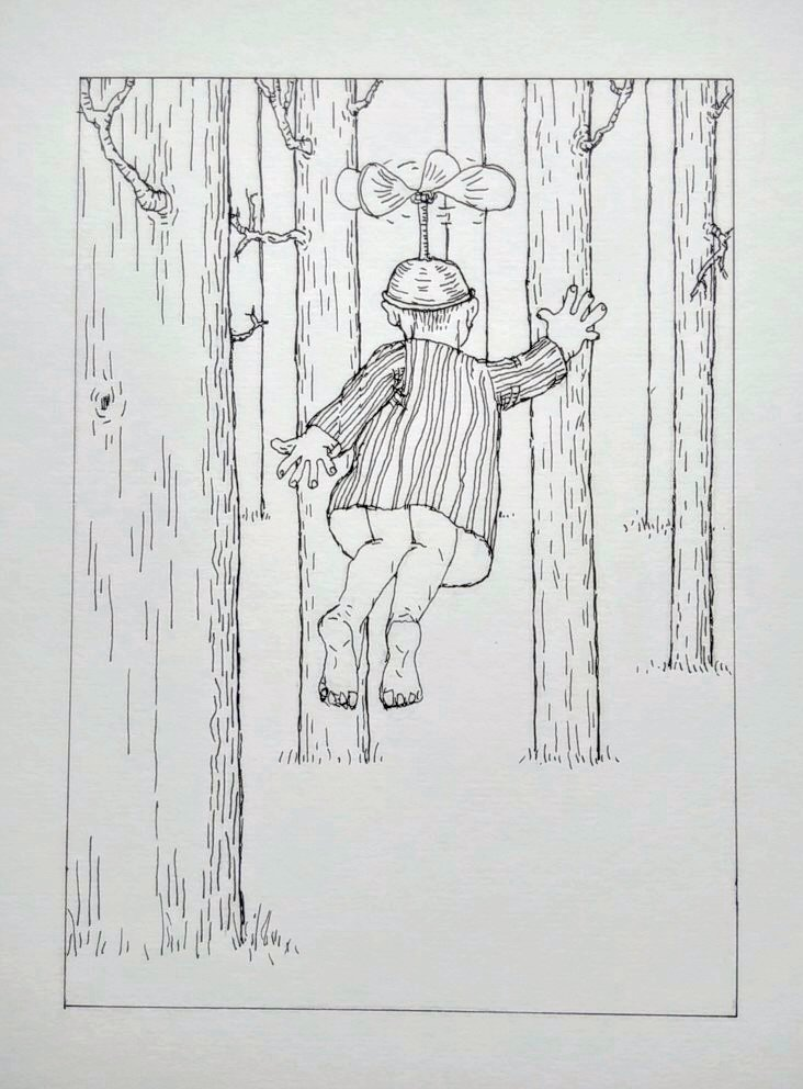 ink drawing of child flying through trees