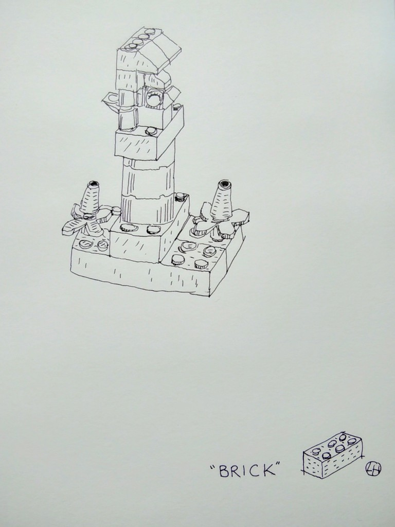 ink drawing of lego model of bird's house