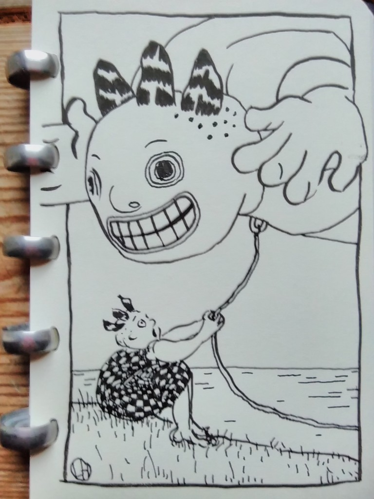 ink drawing of child and giant, human-shaped balloon