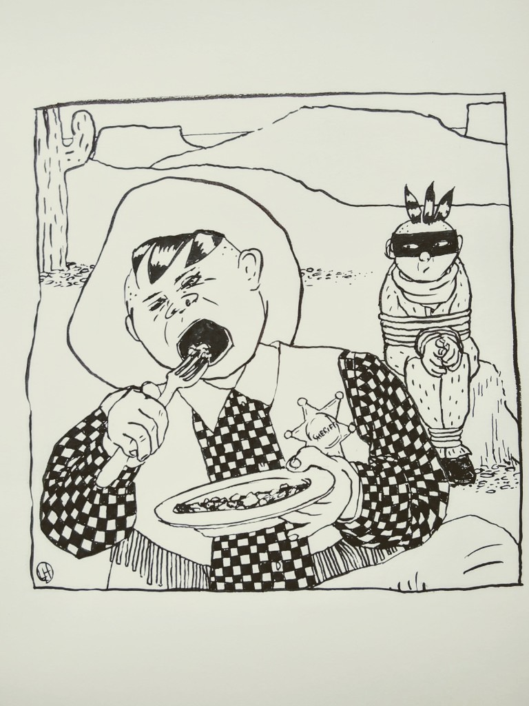 ink drawing of wild west sheriff eating dinner in front of tied-up prisoner