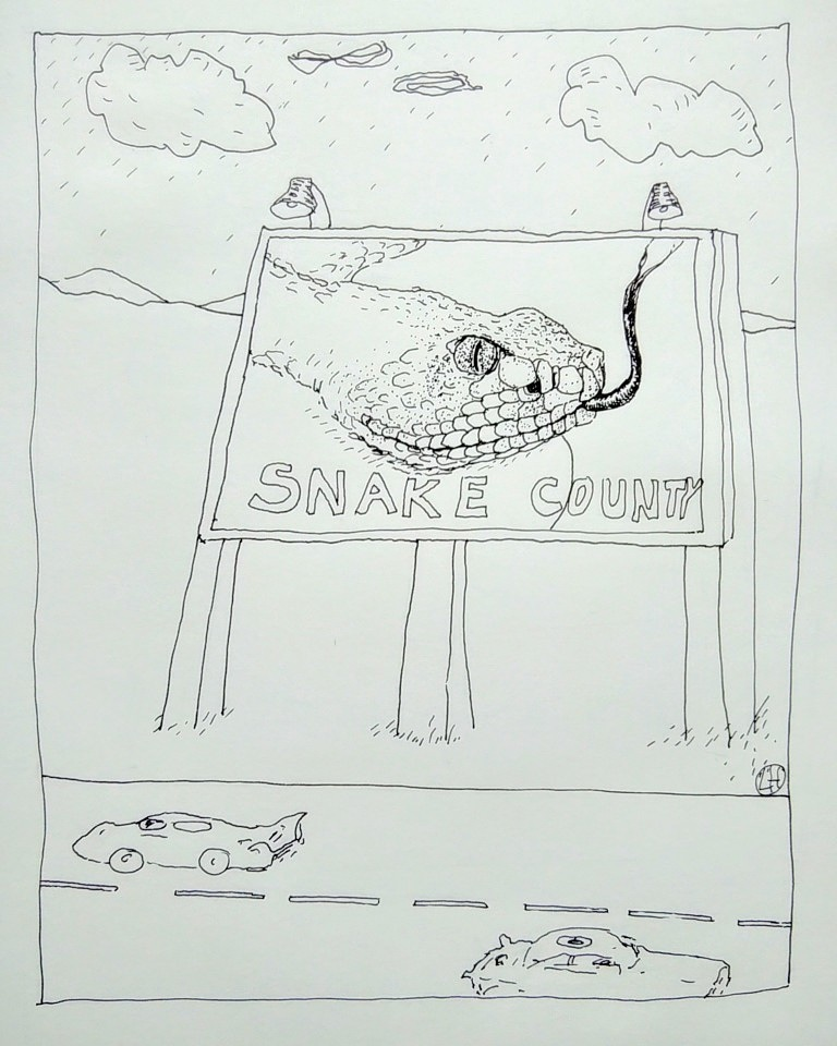 ink drawing of snake poster and highway