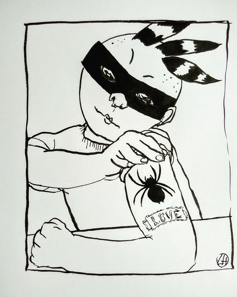 ink drawing of figure looking at spider tattoo on their arm