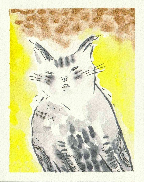 watercolour of cat