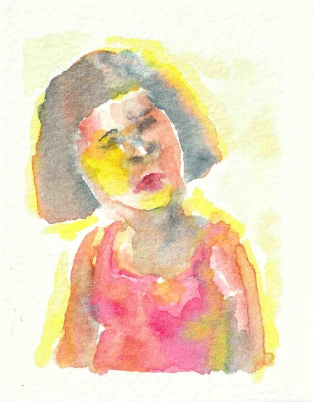 watercolour portrait of woman